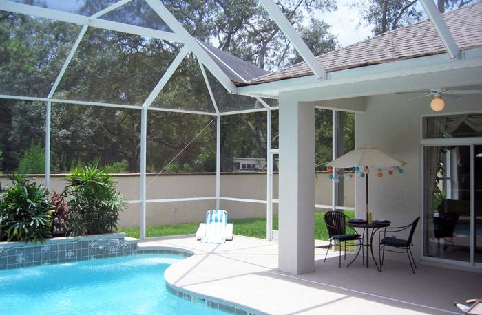 conservatory with swimming pool